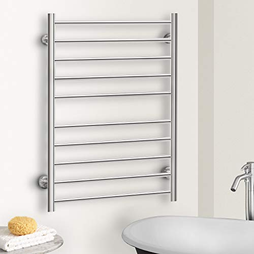 Hromee Wall Mounted Plug-in Straight Towel Warmer Electric Heated Drying Racks for Bathroom Stainless Steel 10 Bars Polished 100 Watt