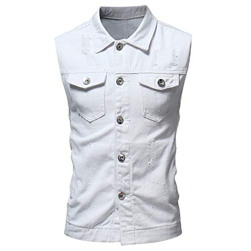 T Shirt Mens GREFER Personality Vintage Denim Jacket Waistcoat Blouse Vest Top