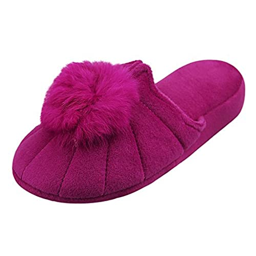 6e57eae9a outlet Lovely Ball Plush Slippers Winter Warm Indoor Floor Shoes Cotton  Landslide Toe Slipper House Fuzzy