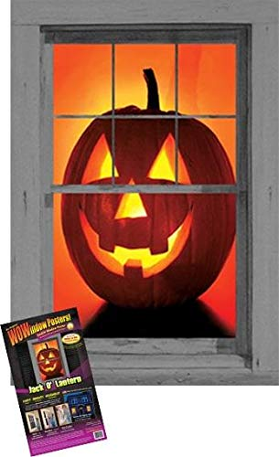 "WOWindow Posters Jack O'Lantern Pumpkin Halloween Window Decoration 34.5""x60"" backlit plastic poster"