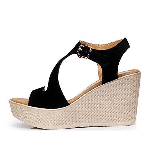 Femmes éTanche Chaussures Hautes 2017 à Pour black Grande éPaisses Sandales Femme Plateforme Taille avec ÉTé Pour Talon Rw8ZYRqOx