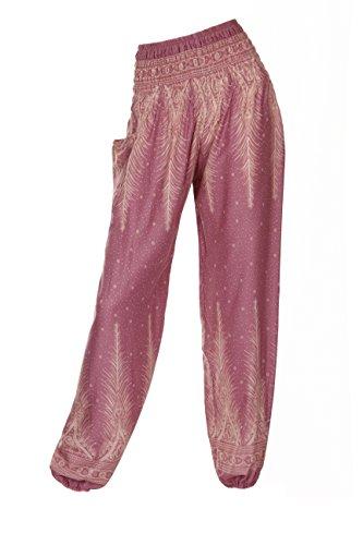Pantalones harén–ALADDIN pantalones de Hippie con 18Diferentes diseños Peacock 2 Pink