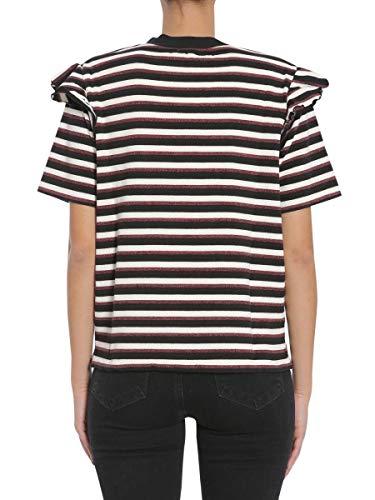 shirt Nero T Fw17w722burgundyblack Cotone Maison bordeaux Donna Kitsuné E7YwwqS