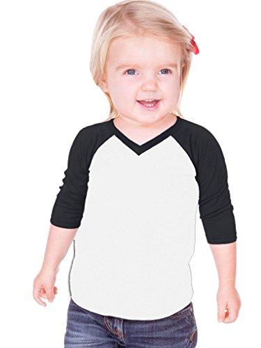 Kavio! Unisex Infants Sheer Jersey Contrast V Neck Raglan 3/4 Sleeve White/Black ()
