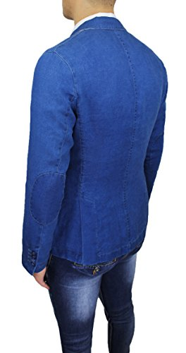 Blazer Casual Di Jeans Fit Alessandro Slim Giacca Gilles Italy In Uomo Blu Made 7pPv6