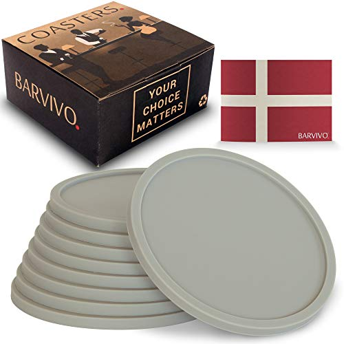 (Barvivo Drink Coasters Set of 8 - Tabletop Protection for Any Table Type, Wood, Granite, Glass, Soapstone, Marble, Stone Tables - Perfect Grey Soft Coaster Fits Any Size of Drinking Glasses.)