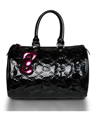 Loungefly Hello Kitty Black Embossed Bowler Purse Tote Bag, Bags Central
