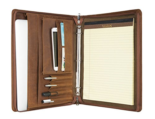 [Custom Monogrammed] ZH Crazy-House Leather Portfolio/Padfolio Busniess File Folder Document Organizer with Writing Pad,3 Ring Binder, Zipper Closure, Custom, Brown