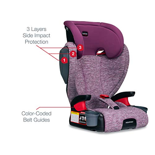 41PtB8TdhoL - Britax Highpoint 2-Stage Belt-Positioning Booster Car Seat - Highback And Backless | 3 Layer Impact Protection - 40 To 120 Pounds, Mulberry