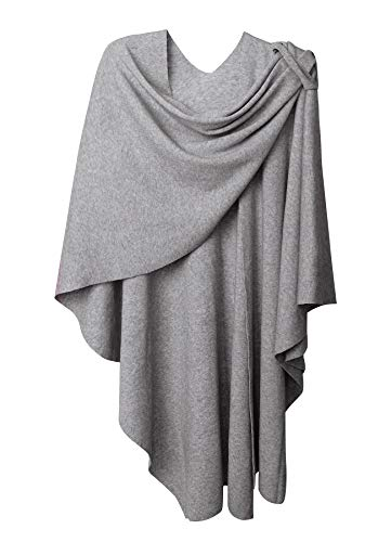 Womens Large Cross Front Poncho Style Sweater Plus Sized Wrap Topper Grey ()