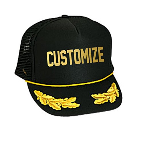 (Custom Text Black and Gold Nautical Captain Adjustable Trucker Hat)