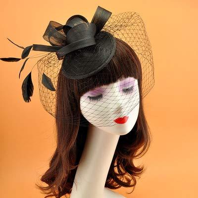 Elegant Ladies Wedding Hats Feathers Red Black Hat Wedding Evening Chrismas Party Bridal Hats Black