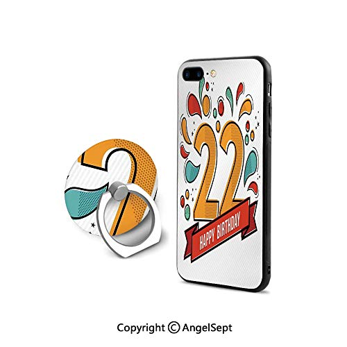 Protective Case Compatible iPhone 7/8 with 360°Degree Swivel Ring,Colorful Anniversary Invitation Typography with Modern Graphic,Shockproof Protection,Multicolor