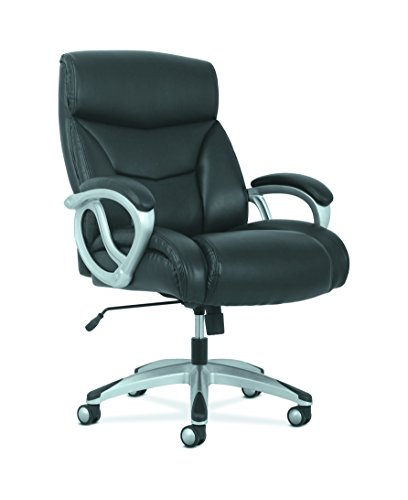 basyx by HON Big and Tall Leather Executive Chair, High-Back Computer/Office Chair, Black (HVST341)