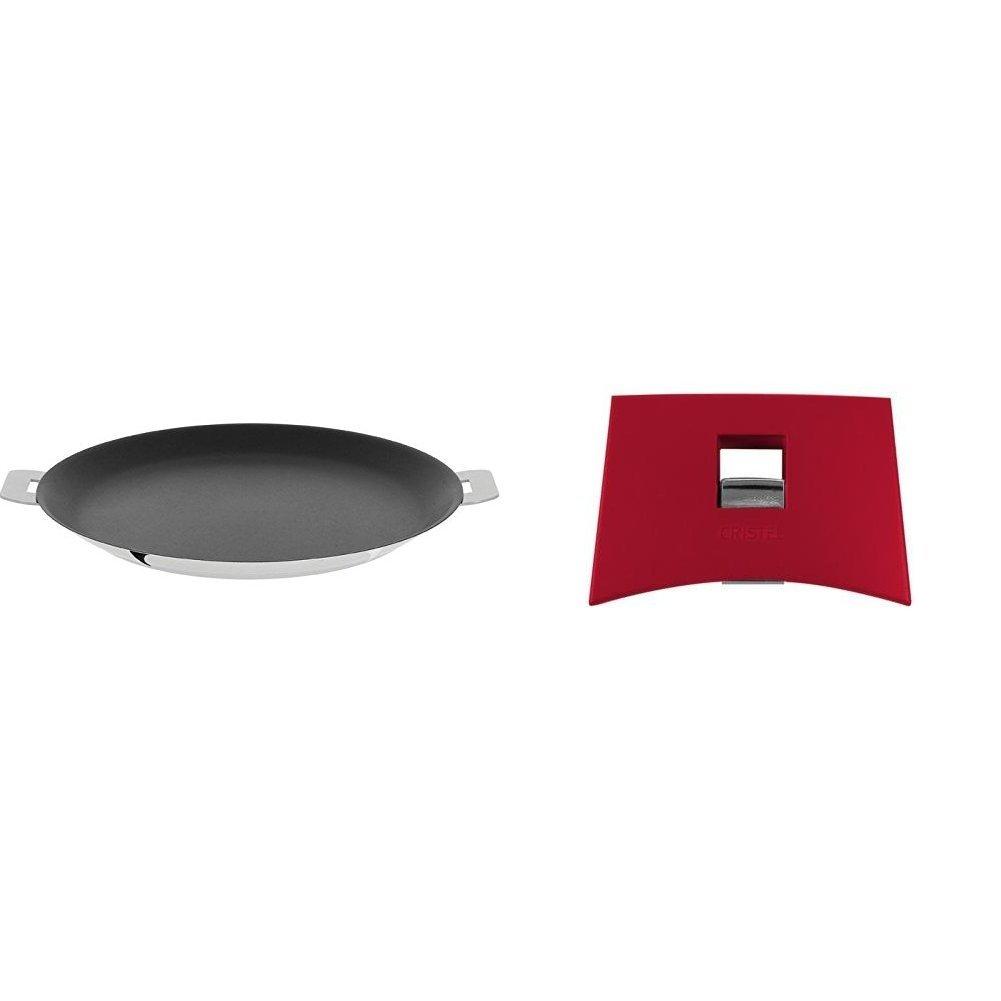 Cristel CR30QE Non-Stick Crepe Pan, Silver, 12'' with Cristel Mutine Plmaf Side Handle, Raspberry