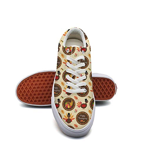 fvnoui LadyHappy Thanksgiving Pattern with Turkeys Canvas Shoes Low-Cut Straps Funky Sneakers Suitable for Walking]()