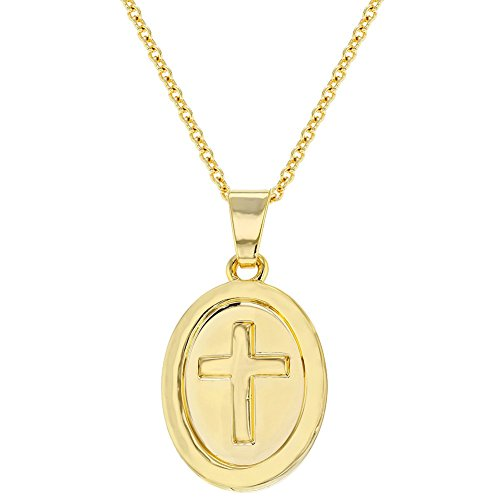 18k Gold Plated Medal Religious Cross Pendant Necklace for Kids 16