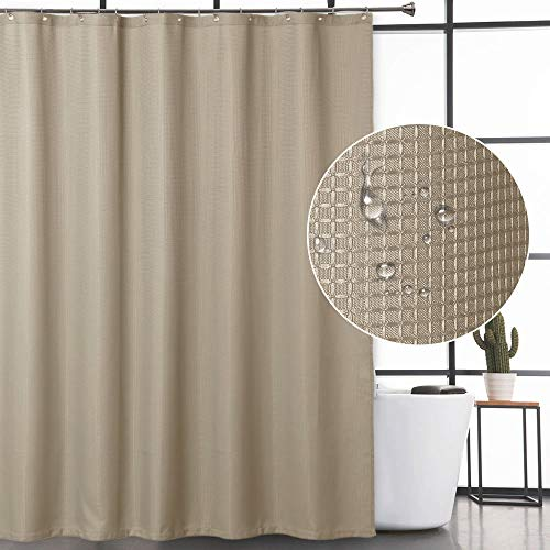 CAROMIO Waffle Fabric Shower Curtain, Water Repellent Waffle Weave Fabric Shower Curtains for Bathroom with Rustproof Metal Grommets, Plaza - Tan Waffle