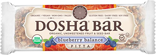Dosha Bars, Blueberry Balance, Organic Gluten Free Dairy Free Soy Free Paleo Vegan, Balance Pitta, 1.34 Ounce Bars, 12 Count