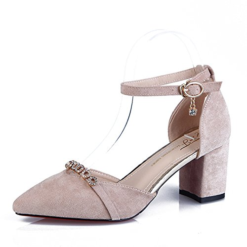Mariage Sandales De Cheville De Femmes Block Chaussures Apricot Dorsay La Fête Bout Strass Pointu Heels Bride à ZYEf6qY