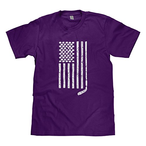 Mixtbrand Big Boys' Hockey Stick and Pucks American Flag Youth T-shirt L (Big Kids Purple Apparel)