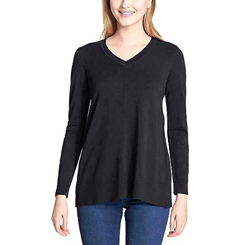 DKNY Jeans Women's V-Neck Sweater, Black, XX-Large ()