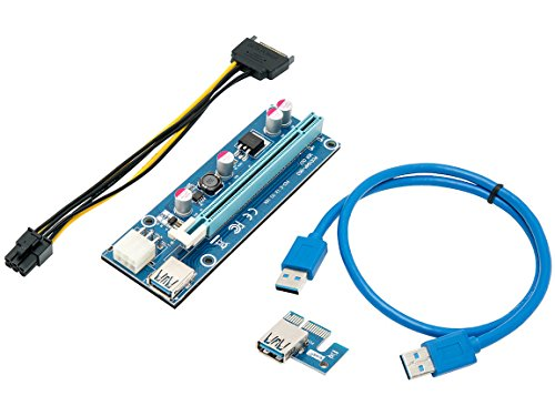 Mining Card, Riser Card, PCIe (PCI Express) 16x to 1x Riser Adapter, USB 3.0 Extension Cable 60cm, 6 pin PCI-E to SATA Power Cable, GPU Riser Adapter, Ethereum Mining Riser Card (Pci Riser Card)