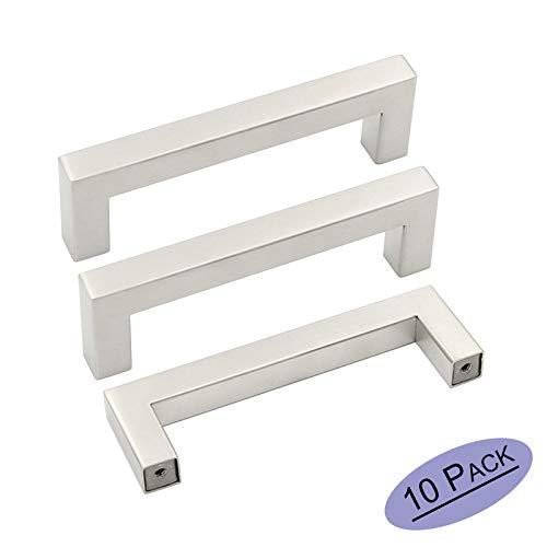 10 Pack Kitchen Cabinet Pulls Brushed Nickel Drawer Handles - Goldenwarm Brushed Stainless Steel Square Bar Pulls Kitchen Hardware Sliver Cabinet Handles for Bathroom 4in Hole Spacing ()