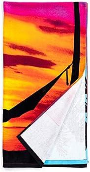 Dawhud Direct Palm Tree Sunset Super Soft Plush Cotton Beach Bath Pool Towel