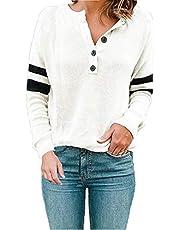 BLUETIME Women's Raglan Long Sleeve Button Down Knit Pullover Sweatshirt Sweater Top