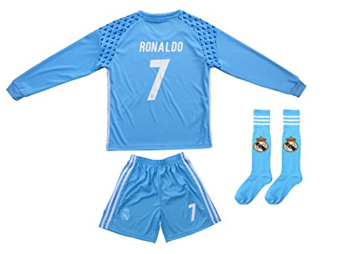 2016/2017 Real Madrid RONALDO #7 Away BLUE Long Sleeve Soccer Kids Jersey & Short Set Youth Sizes (12-13 YEARS)