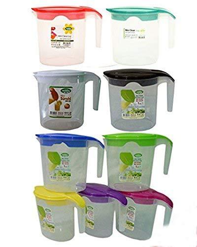 Plastic Jug Set of 3 & 2 1Ltr Lid Multi Purpose Water Jug Juice Jug Hobby Life (Set of 2) Kitchen Product