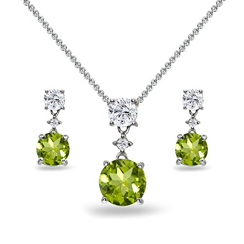 (Sterling Silver Peridot & White Topaz Round Three Stone Dangling Necklace & Stud Earrings)