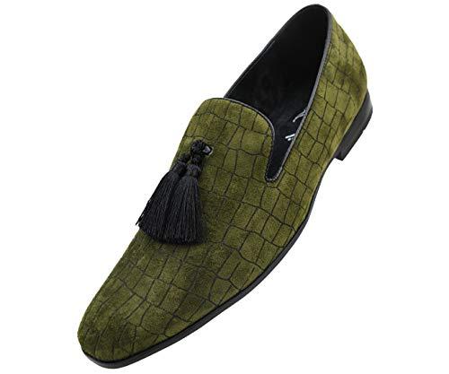 Amali Men's Exotic Velvet Loafer Slip On with Black Fabric Tassel Dress Shoe, Style ()