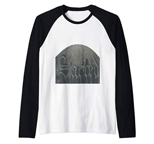 Sacred Gothic Text Halloween Gravestone  Raglan Baseball Tee]()