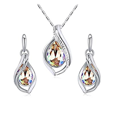 MALANDA Austrian Crystals Water Drop Pendant Necklace Stud Earrings For Women Wedding Jewelry Sets