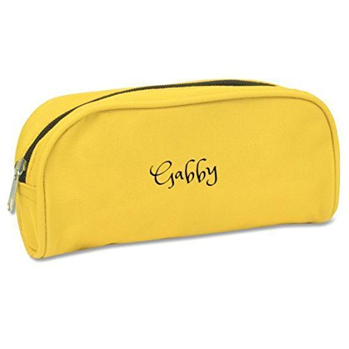 Personalized Durable Pencil case - Custom Monogram/Name Embroidered Gift - School & College, Office Supplies Great Present (Yellow)