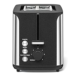 Toaster 2 Slice Stainless Steel Prime Rated Toasters 6 Bread Shade Settings Bagel/Cancel/Gluten Free/Reheat Functions, 900 Watt, Compact Toaster with Extra Wide Slots, Removable Crumb Tray
