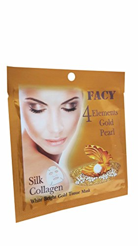 6 Mask Sheets Of Facy 4 Elements Gold Pearl Silk Collagen White Bright Gold Tissue Mask  1 Pcs  21 G