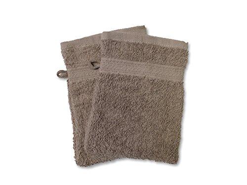 Set di 2 guanti da bagno TINTA UNITA tortora 450 g/m2 421041