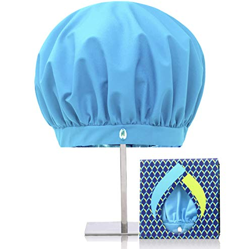 TURBELLA Luxury Reusable Shower Caps for Women | Waterproof Breathable Fabric Wicks Humidity to Stop Frizz | Large to Keep Long + Curly Hair Dry + Styled | Adjustable | Anti Slip | GIFT BOX | USA