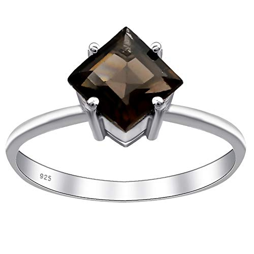 Smoky Quartz Anniversary Rings For Women By Orchid Jewelry : Engagement & Promise Ring For Her, Unique Wedding Ring, Sterling Silver Fashion Rings Size 7 (0.95 Ctw) (Quartz Zirconia Cubic Ring Smoky)