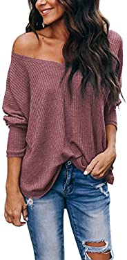 iGENJUN Women's Casual V-Neck Off-Shoulder Batwing Sleeve Pullover Sweater