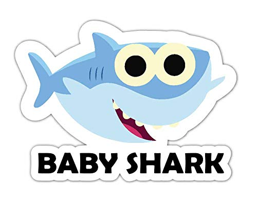 (Baby Shark Printed Vinyl Sticker Decal Funny Kids Baby Song Cartoon)