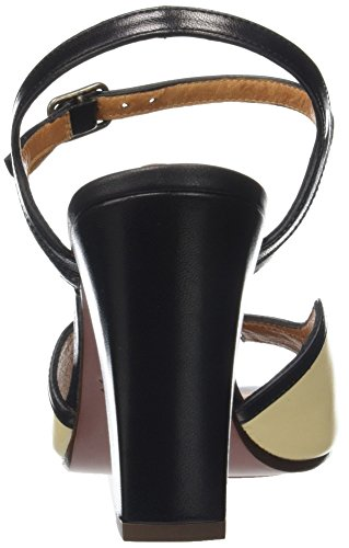 Chie Mihara Alanko, Scarpe Col Tacco con Cinturino a T Donna Beige (Tailu Cream Tailu Negro)