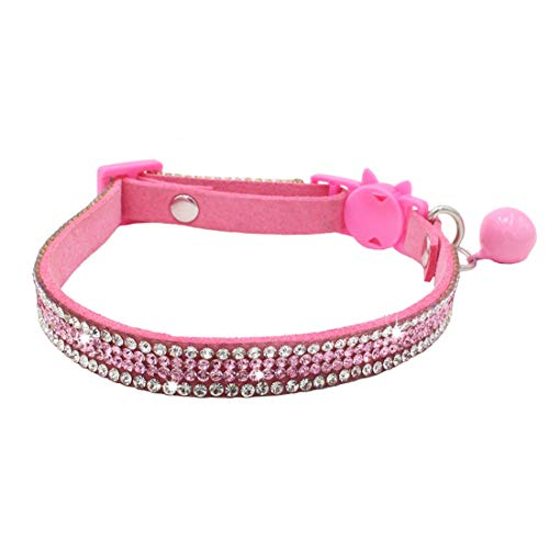 (THAIN Basic Adjustable Cat Collar Bling Diamond Breakaway with Bell for Kitten Girl boy (Pink))