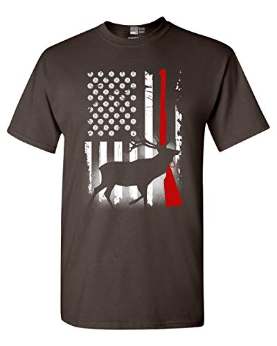 Deer Antlers Gun Hunting American Flag Patriotic DT Adult T-Shirt Tee (XXX Large, Dark Chocolate)