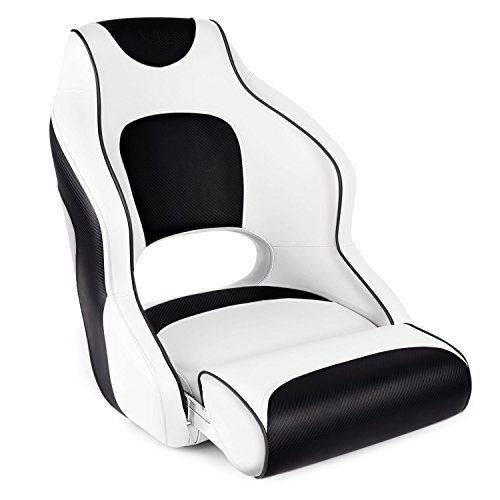 Leader Accessories Two Tone Captains Bucket Seat Boat Seat Premium Sports Flip Up Boat Seat(White/Black,Black Piping)