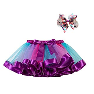 Rainbow Tutu Skirt for Girls, Layered Ballet Skirts, Multicolor Tulle Dress with Colorful Hair Bows for Toddlers Girls