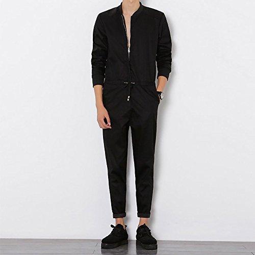 bf513987c49c YOUMU Men Long Sleeve Zip up Romper Jumpsuit Playsuit Streetwear ...